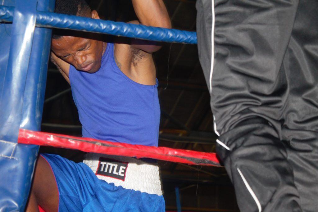 Khanya Mqikela praying before his fight with Kagiso Tlalang in Embalenhle Mpumalanga.