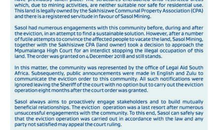 Sasol statement on Sakhisizwe illegal occupants evictions
