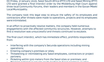 Sasol granted final court interdict against GMM forums