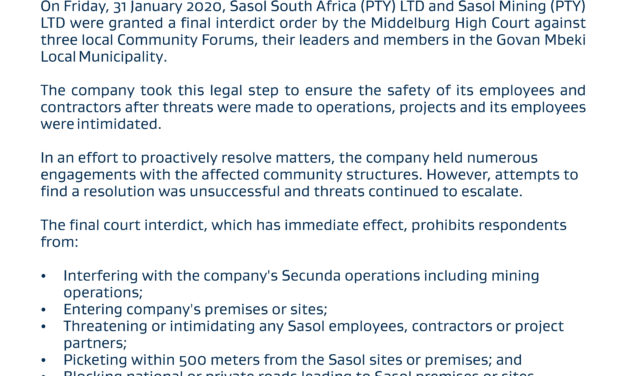 Sasol granted final court interdict against GMM forums